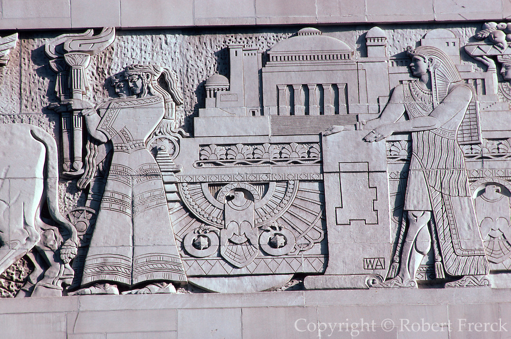CHICAGO, ARCH. DETAILS Babylonian Frieze on Radisson Hotel facade, N. Michigan Ave.