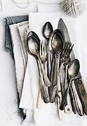 vintage silverware from above