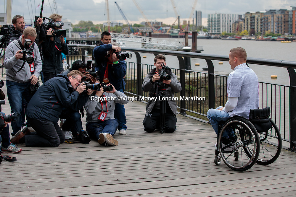 Elite Men's Wheelchair race winner David&nbsp; Weir GBR&nbsp;at a photocall at the Guoman Tower Hotel on the morning after his victory. The Virgin Money London Marathon, 24th April 2017.<br /> <br /> Photo: Neil Turner for Virgin Money London Marathon<br /> <br /> For further information: media@londonmarathonevents.co.uk