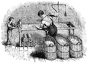Forming cotton into 'laps' so that it could be put into the carding machine in a uniform amounts. In foreground baskets of cotton that had been through the gin to remove seeds and separate fibres. On right at back of bench, balance for weighing cotton. Under bench are 'laps' ready for carding. Adult 'hand' with boy assistant. From  Charles Tomlinson 'The Useful Arts and Manufactures of Great Britain' London c1845.