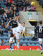 Dundee's James McPake outjumps Inverness&rsquo; Ryan Christie - Dundee v Inverness Caledonian Thistle in the Ladbrokes Premiership at Dens Park<br /> <br />  - &copy; David Young - www.davidyoungphoto.co.uk - email: davidyoungphoto@gmail.com