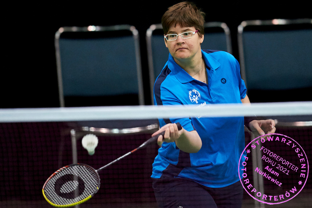 SO Germany athlete Jacqueline Landsmann plays badminton during third day of the Special Olympics World Games Los Angeles 2015 on July 27, 2015 at South Hall on Los Angeles Convention Centre in  Los Angeles, USA.<br /> USA, Los Angeles, July 27, 2015<br /> <br /> Picture also available in RAW (NEF) or TIFF format on special request.<br /> <br /> For editorial use only. Any commercial or promotional use requires permission.<br /> <br /> Adam Nurkiewicz declares that he has no rights to the image of people at the photographs of his authorship.<br /> <br /> Mandatory credit:<br /> Photo by &copy; Adam Nurkiewicz / Mediasport