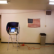 An electronic voting station at the Calvary Baptist Church in Barrio Logan.