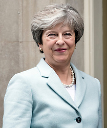 © Licensed to London News Pictures. 30/10/2017. London, UK. British prime minister THERESA MAY greets First Minister of Wales, Carwyn Jones outside 10 Downing Street in London. PM May is under pressure to act on allegations of sexual harassment at parliament by MPs and members of the cabinet. Photo credit: Ben Cawthra/LNP
