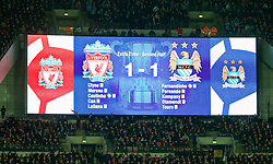 LONDON, ENGLAND - Sunday, February 28, 2016: The full-time scoreboard after extra time during the Football League Cup Final match between Liverpool and Manchester City at Wembley Stadium. (Pic by David Rawcliffe/Propaganda)