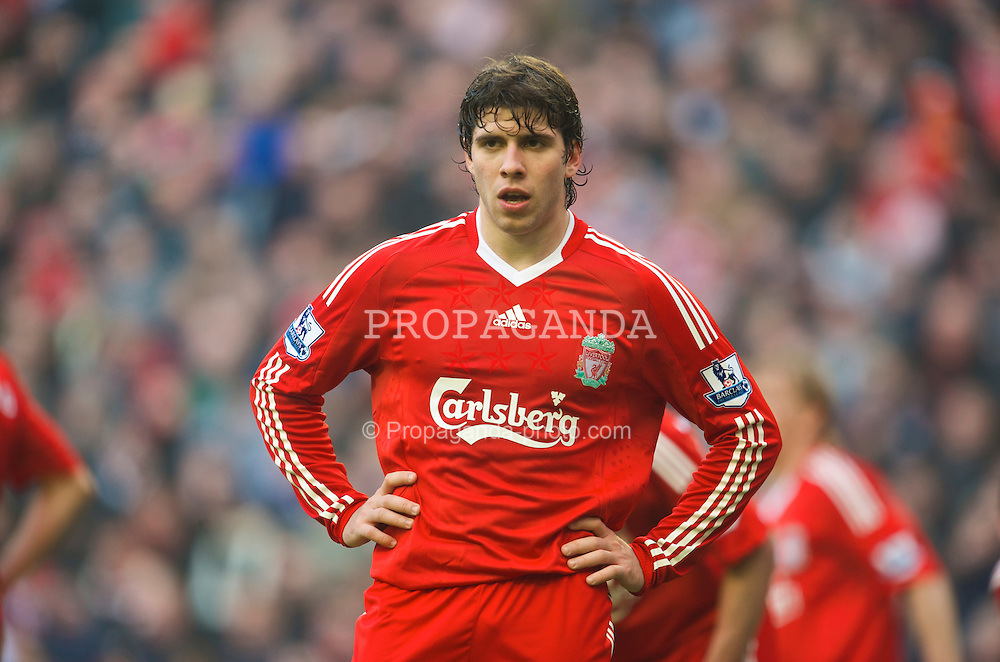 LIVERPOOL, ENGLAND - Saturday, February 6, 2010: Liverpool's Emiliano Insua in action against Everton during the Premiership match at Anfield. The 213th Merseyside Derby. (Photo by: David Rawcliffe/Propaganda)