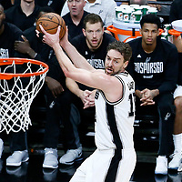 03 May 2017: San Antonio Spurs center Pau Gasol (16) grabs the rebound during the San Antonio Spurs 121-96 victory over the Houston Rockets, in game 2 of the Western Conference Semi Finals, at the AT&T Center, San Antonio, Texas, USA.