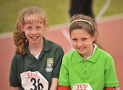Catherine O'Reilly from Ballina and Emma Gallagher from Islandeady at the Mayo Commmunity Games finals in Claremorris.<br /> Pic Conor McKeown