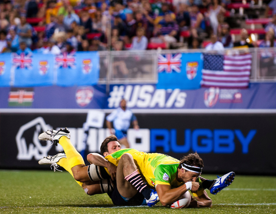 Scotland play Australia during the pool stage of the 2016 USA Sevens leg of the HSBC Sevens World Series at Sam Boyd Stadium  Las Vegas, Nevada. March 4, 2016.<br /> <br /> Jack Megaw for USA Sevens.<br /> <br /> www.jackmegaw.com<br /> <br /> 610.764.3094<br /> jack@jackmegaw.com