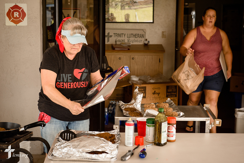 Church member Deborah LaMay prepares food for nearby residents and workers at Trinity Lutheran Church, Lake Placid, Fla., on Thursday, Sept. 14, 2017. LCMS Communications/Erik M. Lunsford