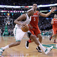 06 March 2012: Boston Celtics small forward Paul Pierce (34) drives past Houston Rockets shooting guard Courtney Lee (5) during the Boston Celtics 97-92 (OT) victory over the Houston Rockets at the TD Garden, Boston, Massachusetts, USA.