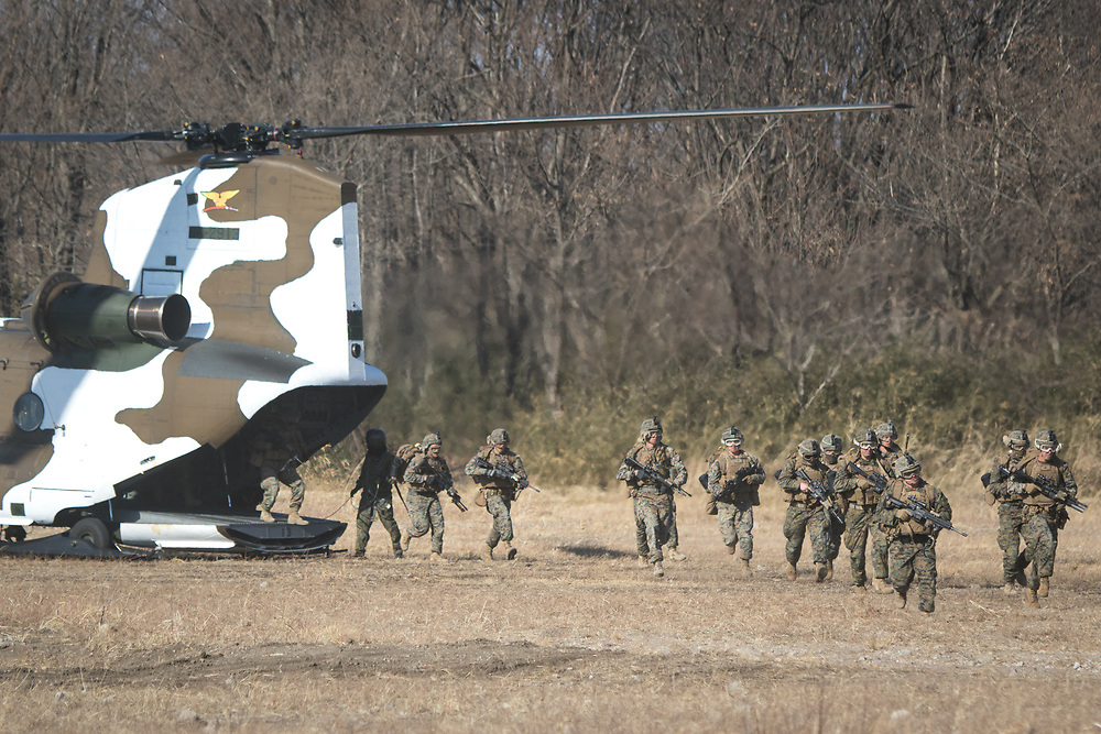 GUNMA, JAPAN - MARCH 10 : Japan's Ground Self Defense Force and the US Marines take up defensive position as they train in a joint training exercise in JGSDF grounds in Camp Soumagahara , Gunma prefecture, Japan on March 10, 2017. (Photo: Richard Atrero de Guzman/ANADOLU Agency)