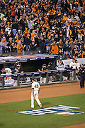 San Francisco Giants fans cheer as starting pitcher Matt Moore (45) walks off the field after the third inning during Game 4 of the NLDS against the Chicago Cubs at AT&T Park in San Francisco, Calif., on October 11, 2016. (Stan Olszewski/Special to S.F. Examiner)