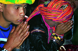 BURMA (MYANMAR), Shan State, Peinnebin. 2006. Wan Tha and Ma Ko are silent as they listen to the rules for Palaung marriages.