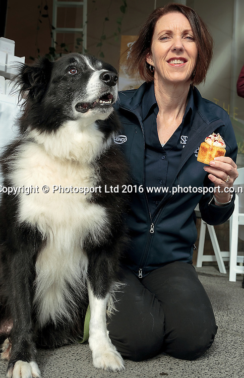 20160803 SPCA Cupcakes. Publicity photo for the SPCA cupcake day, ANdrea Midgen, SPCA Auckland CEO, and her dog Max photographed at The Cakery, Karangahape Road, Auckland in advance of the fund raising day Monday August 15th 2016. Photo: David Mackay / www.photosport.nz