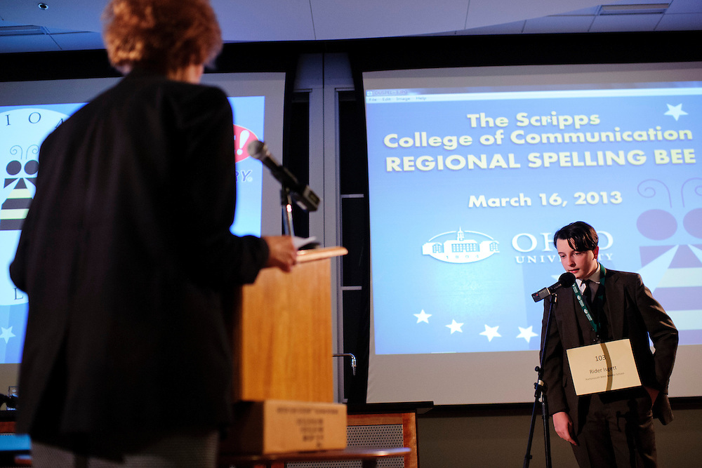 Rider Igett spells his word during Southeast Ohio Regional Spelling Bee Saturday, March 16, 2013. The Regional Spelling Bee was sponsored by Ohio University's Scripps College of Communication and held in Margaret M. Walter Hall on OU's main campus.