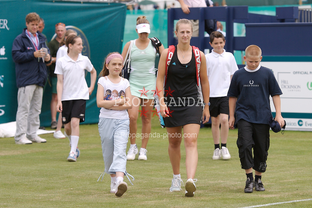 Liverpool, England - Wednesday, June 13, 2007: Liz Thomas (GBR) Q walks out with Ashley Harkleroad (USA) before the opening match of day two of the Liverpool International Tennis Tournament at Calderstones Park. For more information visit www.liverpooltennis.co.uk. (Pic by David Rawcliffe/Propaganda)