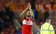 Ryan Shotton of Middlesbrough applauds the fans at full time during the EFL Sky Bet Championship match between Middlesbrough and Leeds United at the Riverside Stadium, Middlesbrough, England on 2 March 2018. Picture by Paul Thompson.