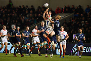 Sale Sharks flanker Jonno Ross  competes for a high ball with Connacht fullback Darragh Leader during a European Challenge Cup Quarter Final match won 20-10 by Sale in Eccles, Greater Manchester, United Kingdom, Friday, March 29, 2019.  (Steve Flynn/Image of Sport)