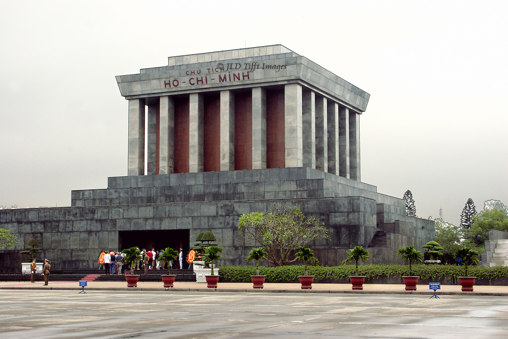 Visiting the Ho Chi Minh Mausoleaum, Hanoi, on a cloudy, rainy, day.  Everybody takes this shot.