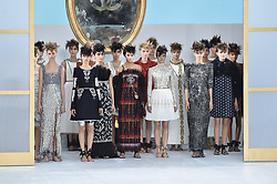 Models including Kendall Jenner (C) walk the runway for the Chanel collection presentation as part of the Haute-Couture Fall-Winter 2014-2015 fashion week, at the Grand Palais in Paris, France, on July 8, 2014. Photo by Christophe Guibbaud/ABACAPRESS.COM