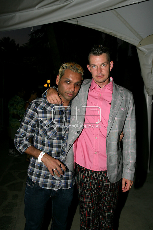 26th April 2008, Coachella, California. No Doubt band members, Tony Kanal (left) and Adrian Young, at the Coachella Music festival. PHOTO © JOHN CHAPPLE / REBEL IMAGES