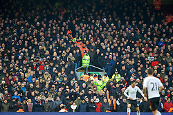 LIVERPOOL, ENGLAND - Sunday, January 17, 2016: Manchester United supporters standing in the exit stairways causing a hazard during the Premier League match against Liverpool at Anfield. (Pic by David Rawcliffe/Propaganda)
