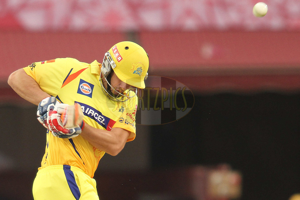 Albie Morkel of the Chennai Super Kings gets a leading edge during match 66 of the the Indian Premier League (IPL) 2012  between The Kings X1 Punjab and The Chennai Superkings held at the HPCA Stadium, Dharamsala, on the 17th May 2012..Photo by Shaun Roy/IPL/SPORTZPICS