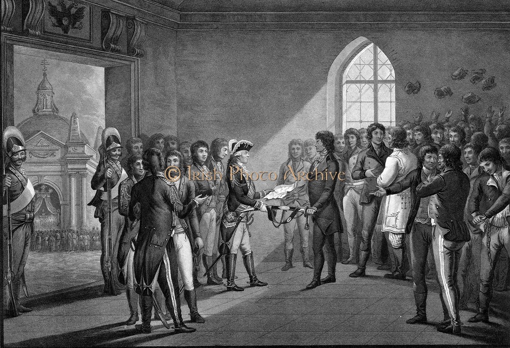 Kosciusko and the Polish nobles obtaining their liberty by the generosity of the Emperor Paul I.  Andrzej Tadeusz Ko?ciuszko 1746 – 1817) was a Polish-Lithuanian military leader during the Ko?ciuszko Uprising. He is a national hero in Poland. Before commanding the 1794 Uprising, he had fought in the American Revolutionary War as a colonel in the Continental Army.