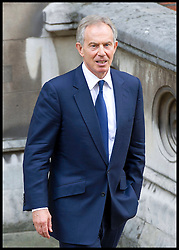 Tony Blair leaving the Levenson Inquiry at the High Court, London, After giving evidence in the Inquiry, Monday May 28, 2012. Photo by i-Images