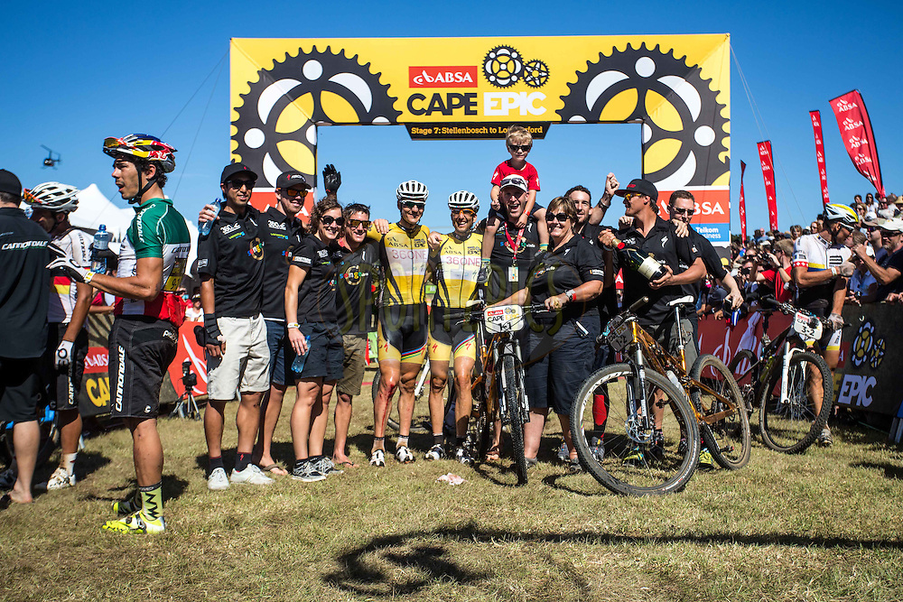 Team Burry Stander Songo during the final stage (stage 7) of the 2013 Absa Cape Epic Mountain Bike stage race from Stellenbosch to Lourensford Wine Estate in Somerset West, South Africa on the 24 March 2013..Photo by Nick Muzik/Cape Epic/SPORTZPICS