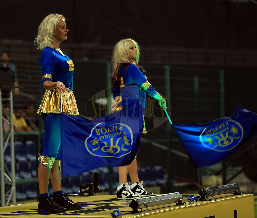 Cheer Girls during match 19 of the Pepsi Indian Premier League 2014 Season between The Kolkata Knight Riders and the Rajasthan Royals held at the Sheikh Zayed Stadium, Abu Dhabi, United Arab Emirates on the 29th April 2014<br /> <br /> Photo by Sandeep Shetty / IPL / SPORTZPICS