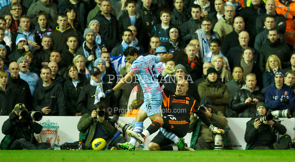 LIVERPOOL, ENGLAND - Sunday, November 27, 2011: Liverpool's goalkeeper and captain Jose Reina in action against Manchester City's Sergio Aguero during the Premiership match at Anfield. (Pic by David Rawcliffe/Propaganda)