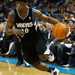 February 7, 2011; New Orleans, LA, USA; Minnesota Timberwolves point guard Jonny Flynn (10) against the New Orleans Hornets during the third quarter at the New Orleans Arena. The Timberwolves defeated the Hornets 104-92.  Mandatory Credit: Derick E. Hingle
