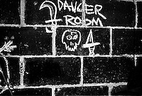 A close up of the Danger Room Logo drawn on the wall inside the Danger Room...........................
