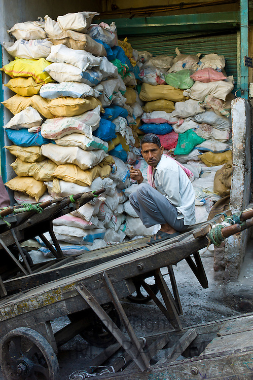 Rock salt on sale at Khari Baoli spice and dried foods market, Old Delhi, India