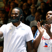 27 August 2011: Ronny Turiaf and Boris Diaw are seen during the friendly game won 74-44 by France over Belgium, in Lievin, France.