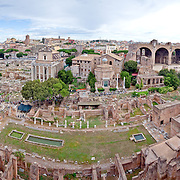 High resolution panorama of Rome's Roman Forum (Foro Romano) from an elevated vantage point