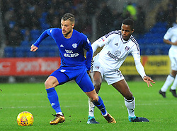 Ryan Sessegnon of Fulham tries to hold back Joe Bennett of Cardiff City- Mandatory by-line: Nizaam Jones/JMP- 26/12/2017 -  FOOTBALL - Cardiff City Stadium - Cardiff, Wales -  Cardiff City v Fulham - Sky Bet Championship