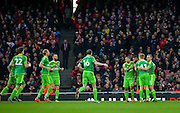 Sunderland Midfielder Jeremain Lens scores the opening goal during the The FA Cup match between Arsenal and Sunderland at the Emirates Stadium, London, England on 9 January 2016. Photo by Adam Rivers.