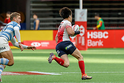 March 9, 2019 - Vancouver, BC, U.S. - VANCOUVER, BC - MARCH 10: Taiki Koyama #7 of Japan eludes Santiago Mare #10 of Argentina to score during Game #2- Argentina 7s vs Japan 7s in Pool D match-up at the Canada Sevens held March 9-10, 2019 at BC Place Stadium in Vancouver, BC, Canada.(Photo by Allan Hamilton/Icon Sportswire) (Credit Image: © Allan Hamilton/Icon SMI via ZUMA Press)