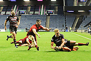 Duhan van der Merwe scores a try during the Guinness Pro 14 2017_18 match between Edinburgh Rugby and Munster Rugby at Myreside Stadium, Edinburgh, Scotland on 16 March 2018. Picture by Kevin Murray.