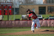 Hilton's John Chiappone delivers a pitch during a game against Greece Athena in Hilton on Wednesday, April 27, 2016.