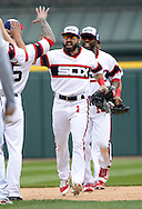 CHICAGO - APRIL 24:  Adam Eaton #1 of the Chicago White Sox celebrates with teammates after the game against the Texas Rangers on April 24, 2016 at U.S. Cellular Field in Chicago, Illinois.  The White Sox defeated the Rangers 4-1.  (Photo by Ron Vesely)   Subject: Adam Eaton