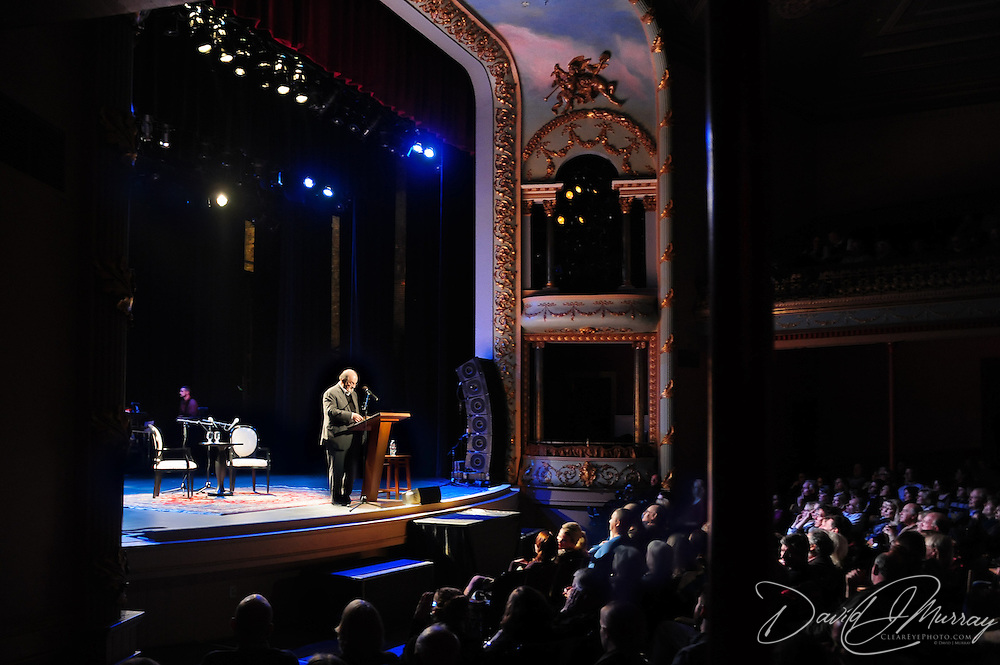 Author Salman Rushdie speaks at a Writers On A New England Stage show at The Music Hall in Portmouth, NH.