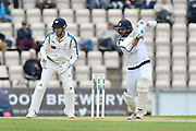 James Vince of Hampshire batting with Jonny Bairstow of Yorkshire keeping wicket during the Specsavers County Champ Div 1 match between Hampshire County Cricket Club and Yorkshire County Cricket Club at the Ageas Bowl, Southampton, United Kingdom on 21 April 2017. Photo by Graham Hunt.