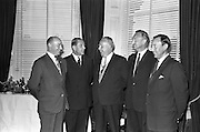 12/06/1963<br /> 06/12/1963<br /> 12 June 1963<br /> F.A. Wyatt and Co. Ltd./Peek Frean reception at the Shelbourne Hotel, Dublin.  At the F.A. Wyatt presentation of the products of Peek Fream Biscuits were: Mr. H.B. Bagster, Secretary and Director, F.A. Wyatt and Co. Ltd.; Mr. A.M.A. Battle, Export Sales Manager Peek Frean and Co. Ltd.; Alderman J.J. O'Keeffe T.D., Lord Mayor of Dublin; Mr. T.S. Maharry, Managing Director, F.A. Wyatt and Co. Ltd. and Mr. D.F. Frawley, Director, F.A. Wyatt and Co. Ltd.