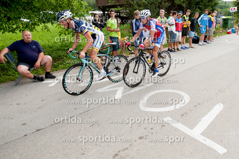 Grega Bole of Vacansoleil and Tomaz Nose of Adria Mobil during Slovenian National Championship in Road Cycling, on June 23, 2013, in Gabrje, Slovenia. (Photo by Urban Urbanc / Sportida.com)