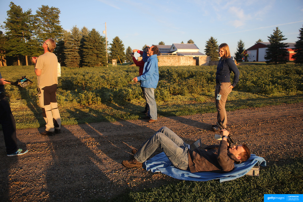 Pilots check wind speed and direction before flying around rural Michigan near Battle Creek during the World Hot Air Ballooning Championships. Battle Creek, Michigan, USA. 18th August 2012. Photo Tim Clayton