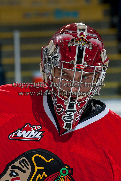 KELOWNA, CANADA - APRIL 25: Corbin Boes #30 of the Portland Winterhawks warms up against the Kelowna Rockets on April 25, 2014 during Game 5 of the third round of WHL Playoffs at Prospera Place in Kelowna, British Columbia, Canada. The Portland Winterhawks won 7 - 3 and took the Western Conference Championship for the fourth year in a row earning them a place in the WHL final.  (Photo by Marissa Baecker/Getty Images)  *** Local Caption *** Corbin Boes;